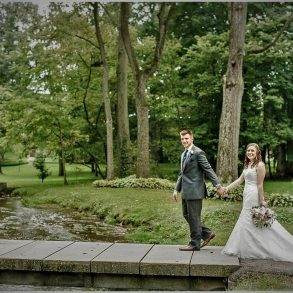 Bride & Groom at stream