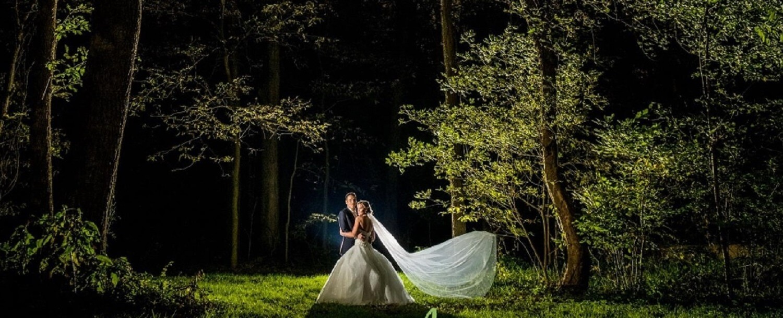 night time wedding shoot