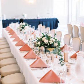 wedding tablescape with pink linens