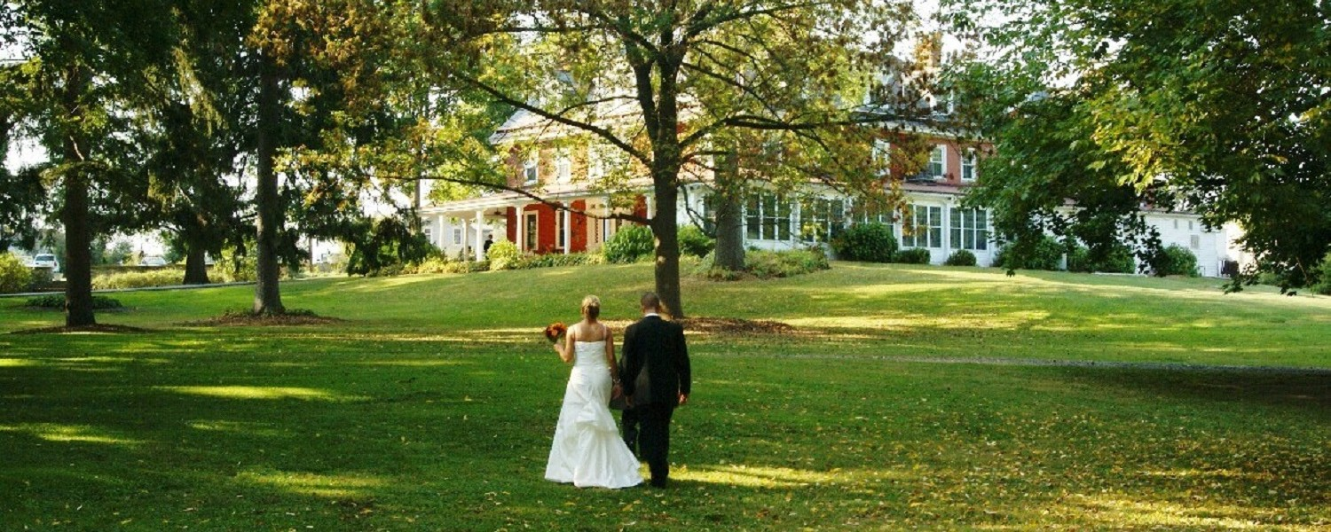 couple walking on the lawn