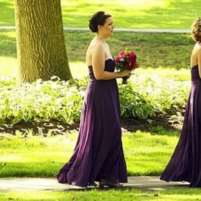 bridesmaids walking to ceremony